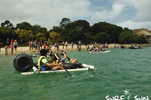 group race after a raft building activity