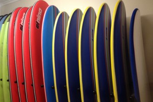 surf boards for hire during surf lessons